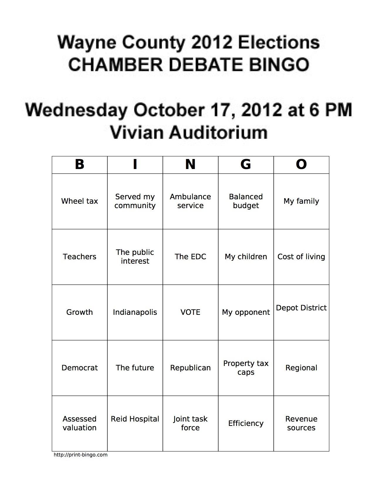 2012 Chamber Debate Bingo Cards